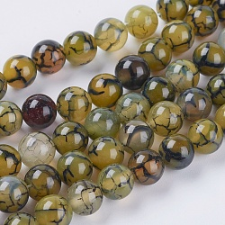 Natural Dragon Veins Agate Beads Strands, Dyed, Round, Olive, 8mm, Hole: 1mm