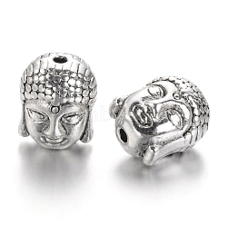 Antique Silver Tibetan Style Buddha Head Alloy Beads, Lead Free, 11x9x8mm, Hole:1.5mm