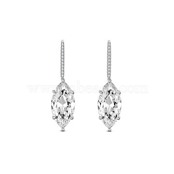 TINYSAND 925 Sterling Silver Earring, with Horse Eye Cubic Zirconia, Clear, 37.8x9.9x7.1mm(TS-E402-S)