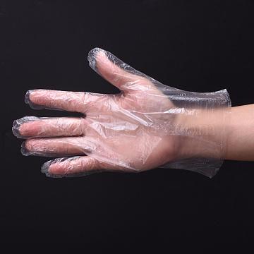 Disposable Gloves, Polyethylene Gloves, Clear, 26.5x25.5cm, 100pcs/bag(X-AJEW-E034-87)