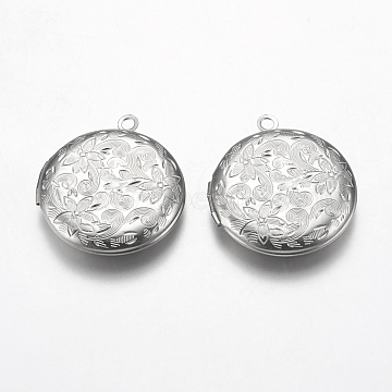 304 Stainless Steel Locket Pendants, Flat Round with Flower, Stainless Steel Color, 31x27.5x5.5mm, Hole: 2.5mm, Inner Size: 20mm(STAS-P225-074P)