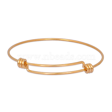 Expandable 316 Surgical Stainless Steel Bangle Making, Real 18K Gold Plated, 60mm, 1.5mm(X-MAK-M188-03)