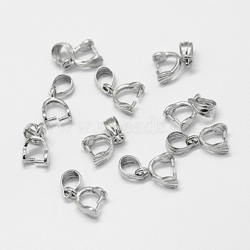 Sterling Silver Pendant Bails, Ice Pick & Pinch Bails, Platinum, 13mm, Hole: 3.5x5mm, Pin: 0.8mm(X-STER-A102-001P)