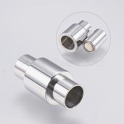 Fermoirs magnétiques en 304 acier inoxydable, colonne, couleur inoxydable, 20x10mm, Trou: 6mm(STAS-O114-010P)