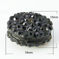 Бусины со стразами из смолы, класс А, плоско-круглые, чёрные, 15x13x8.5 мм, отверстие : 2 мм(RESI-D011-1H)