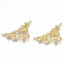 Liens en laiton piquets, pour la moitié de perles percées, sans nickel, non plaqué, 24.5x45.5x7mm, trou: 1.8 mm; broches: 0.8 mm(KK-T040-074-NF)