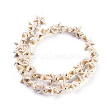 Synthetic Magnesite Bead Strand, Dyed, Starfish/Sea Stars, Tan, 15.5x13.5x5.5mm, Hole: 1mm, about 36pcs/strand, 16.1 inches(X-G-P228-16-01)