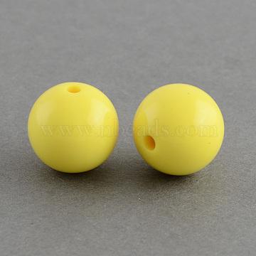 Chunky Bubblegum Round Acrylic Beads, Yellow, 6mm, Hole: 1.5mm(X-SACR-S044-06)