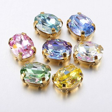 Mixed Color Oval Glass Rhinestone Connectors/Links