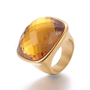 Goldenrod Stainless Steel+Glass Finger Rings