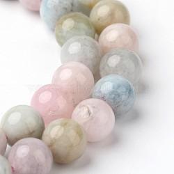 """Натуральный Morganite бусины круглые пряди из бисера, 8 мм, Отверстие : 1 мм; около 51 шт / нитка, 15.3""""(G-F261-22-8mm)"""