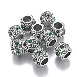 Perles de strass en alliage, Perles avec un grand trou   , colonne, argent antique, émeraude, 10x8.5mm, Trou: 5.5mm(ALRI-G057-04AS)