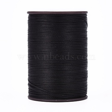 Flat Waxed Thread String, for Leather Sewing Stitching, Black, 0.8mm, about 109.36 yards(100m)/roll(X-YC-P003-A10)