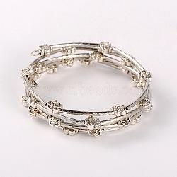 """Bracelets enroulés, avec des perles de fleurs de style tibétain, argent antique, 5 (2"""" cm)(X-BJEW-JB01704-01)"""