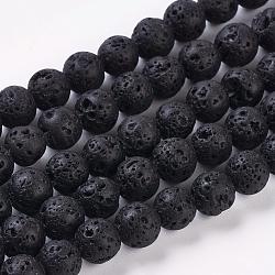 """Chapelets de perles de lave naturelle, rond, noir, environ 6 mm de diamètre, trou: 0.8mm; environ 60 pcs/chapelet, 16""""(g434-8)"""