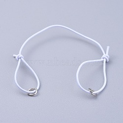Elastic Cord Bracelet Making, with Iron Jump Rings, Adjustable, White, 130mm(X-AJEW-JB00008-01)