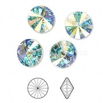Austrian Crystal Rhinestone Cabochons, 1122, Rivoli Chaton, Faceted, Foil Back, 101_Crystal+AB, 8.164~8.421mm(1122-SS39-F101)
