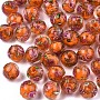 Orange Round Lampwork Beads(LAMP-S194-001G)