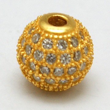 Golden Round Sterling Silver+Cubic Zirconia Beads