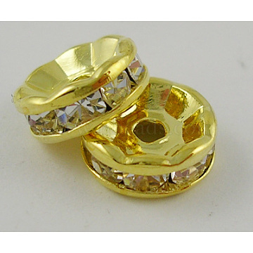 Grade A Rhinestone Spacer Beads, Clear, Brass, Golden Metal Color, Nickel Free, Size: about 4mm in diameter, 2mm thick, hole: 0.8mm(X-RSB034NF-01G)