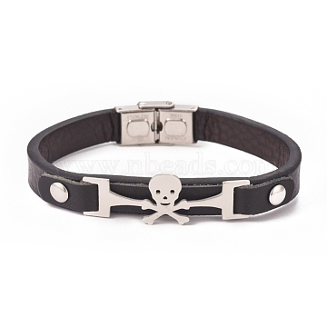 Cowhide Leather Cord Bracelets, with Skull Stainless Steel Links and Clasps, Black, Stainless Steel Color, 8-1/4 inches(21cm), 10x3~6.5mm(BJEW-G620-G01)
