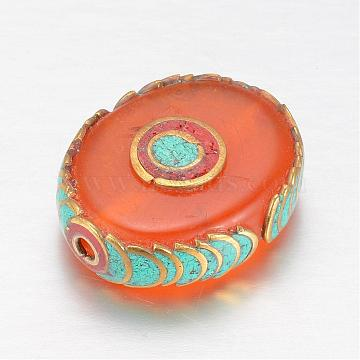 Tibetan Style Imitation Beeswax Beads, Oval, with Brass Findings, Golden, DarkOrange, 28x23x10mm, Hole: 2mm(KK-K155-04)