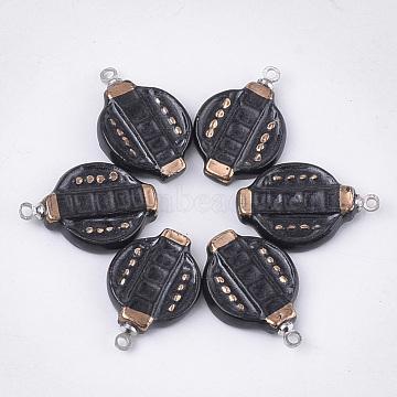 Handmade Porcelain Pendants, Bright Glazed Porcelain, with Brass Findings, Lantern, Platinum, Black, 21~22x14.5~15x3.5mm, Hole: 1.5mm(PORC-T002-22)