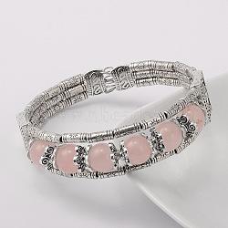 alliage d'argent antique de style tibétain bracelets de pierres précieuses de quartz rose naturel, 51 mm(BJEW-JB01649-03)
