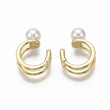 Brass Cuff Earrings, with ABS Plastic Imitation Pearl, Nickel Free, Real 18K Gold Plated, 9.5x6mm(EJEW-R114-017-NF)