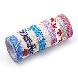 """Rubans de jute imprimés à motif simple face, Rubans de chanvre, rubans de jute, avec du ruban adhésif sur l'autre côté, couleur mixte, 5/8"""" (15 mm); environ 2m / roll, 10 rouleaux / groupe(OCOR-T010-04)"""