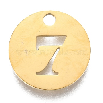304 Stainless Steel Pendants, Hollow, Flat Round with Number, Golden, Num.7, 19x1.5mm, Hole: 2.5mm(X-STAS-F233-07-G)