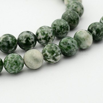 Natural Green Spot Jasper Round Bead Strands, 6mm, Hole: 1mm; about 68pcs/strand, 15.7 inches(G-P070-45-6mm)
