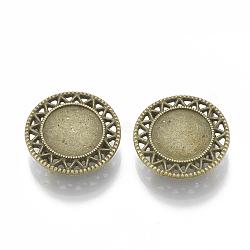 Tibetan Style Alloy Slide Charms Cabochon Settings, Lead Free & Nickel Free, Flat Round, Antique Bronze, Tray: 12mm; 20x5.5mm, Hole: 2x10mm(X-TIBE-Q086-038AB-FF)