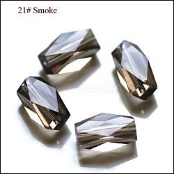 imitation perles de cristal autrichien, AAA grade, facettes, colonne, gris, 5.5x8 mm, trou: 0.7~0.9 mm(SWAR-F055-8x4mm-21)