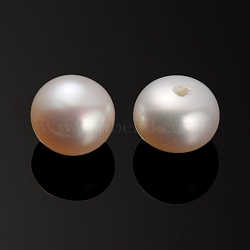 Natural Cultured Freshwater Pearl Beads, Half Drilled, Rondelle Bisque, 7~7.5x5mm, Hole: 0.8mm(PEAR-E001-13)