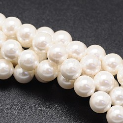 Shell Pearl Beads Strands, Round, White, 10mm, Hole: 1mm; about 39pcs/strand, 16inches(BSHE-E008-10mm-12)