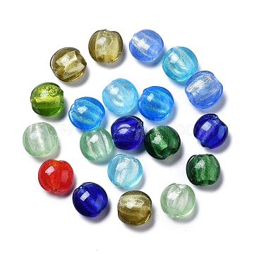 Handmade Silver Foil Glass Beads, Flat Round, Mixed Color, about 12mm in diameter, 8mm thick, hole: 1.5mm(X-SLF12MMY-1)