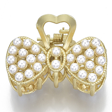 Alloy Claw Hair Clips, with ABS Plastic Imitation Pearl, Long-Lasting Plated, Textured, Bowknot with Heart, Matte Gold Color, White, 30x44x30mm(PHAR-N004-002)