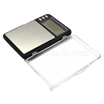 Jewelry Tool Rectangle Shaped Mini Electronic Digital Pocket Scale, Aluminum with ABS, Silver, Weighing Range: 0.1g~1200g, 115x82x21mm(TOOL-A006-09A)