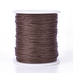 Waxed Cotton Thread Cords, SaddleBrown, 1mm; about 100yards/roll(300 feet/roll)