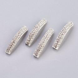 Alliage argent middle east perles tube de strass, 43x7mm, Trou: 3mm(X-ALRI-H264-S)