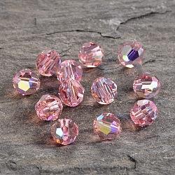 perles de cristal autrichien, 8 mm ronde à facettes, rose, ab, trou: 1 mm(X-5000_8mm223AB)