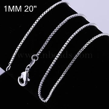 Brass Box Chain Fine Necklace Making, with Lobster Claw Clasps, Silver Color Plated, 20 inches; 1mm(NJEW-BB10849-20)