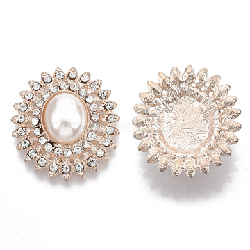 Alloy Flat Back Cabochons, with Crystal Rhinestone, ABS Plastic Imitation Pearl Beads, Oval, Flower Shape, Rose Gold, 27x25x9mm(X-PALLOY-N151-01RG)