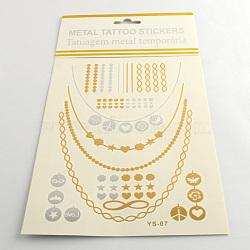 Autocollants en papier métallique de tatouages temporairese en forme mixte amovible d'art corporel cool, couleur mixte, 15~115x1~116 mm; 12 pcs / sac(AJEW-Q081-08)