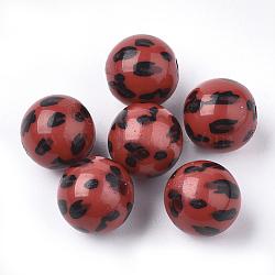 Perles acryliques imprimées, rond, rouge, 11.5~12x11mm, trou: 1.8 mm; environ 520 pcs / 500 g(OACR-S022-15D)