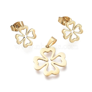 Clover 304 Stainless Steel Jewelry Sets, Pendants and Stud Earrings, with Ear Nuts, Golden, 19.5x17.5x1mm, Hole: 5.3x3mm; 10x10mm, Pin: 0.7mm(SJEW-K154-15G)