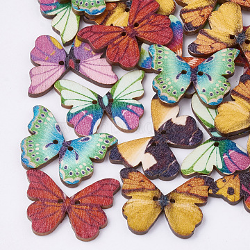 2-Hole Printed Wooden Buttons, Lead Free, Butterfly, Mixed Color, 20.5x28x3mm, Hole: 2mm(X-BUTT-S022-04-LF)