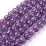 Natural Amethyst Beads Strands, Dyed, Round, Indigo, 8mm, Hole: 1mm; about 24pcs/strand, 7""