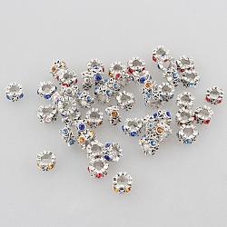 Bague en argent strass alliage de zinc grosses perles anciennes de trous, couleur mixte, 10x6mm, Trou: 5mm(ALRI-L009-M)